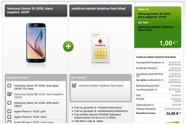 real Allnet (D2) + Samsung Galaxy S6 bei Modeo