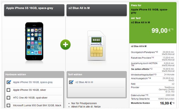 o2 Blue All-in M + iPhone 5S für 16,99 € pro Monat + 99 € Zuzahlung