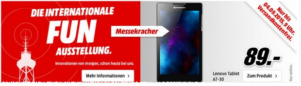 Media Markt Messe-Kracher am 3.9.2015: Lenovo-Tablet für 89 €
