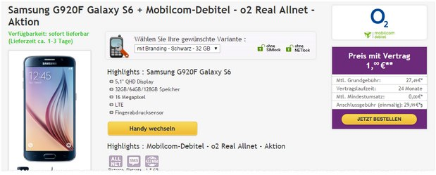 o2 Real Allnet + Samsung Galaxy S6 mit 1,5 GB Internet-Flat