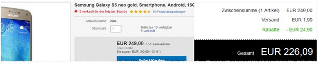 Samsung Galaxy S5 Neo 10% billiger dank Redcoon-Aktion