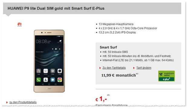 E-Plus Smart Surf (md) + Huawei P9 Lite Dual SIM