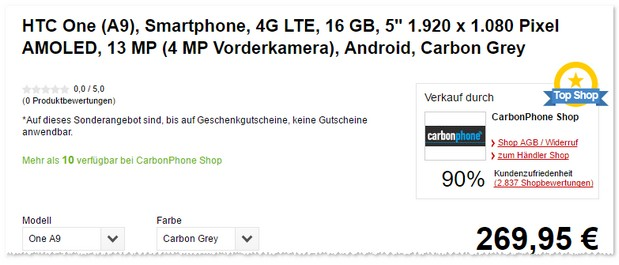 HTC One A9 in der Farbe Carbon Grey
