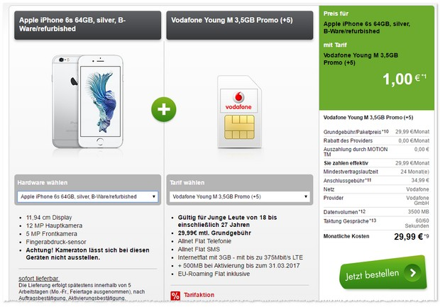 Vodafone Young M mit iPhone 6s 64GB (B-Ware)