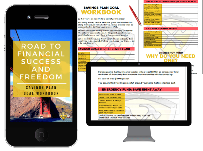 Savings Plan Workbook on the road to financial freedom and success.