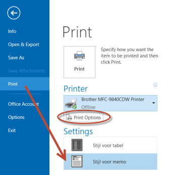 Outlook e-mail afdrukken met de 'Stijl voor memo'