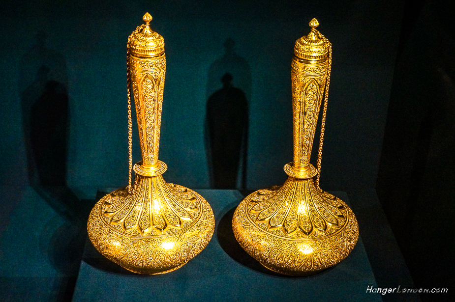 Gold Bottles, a gift from Kharak Singh Raja of kapurthala 1876. Animal representations that live on land and water.