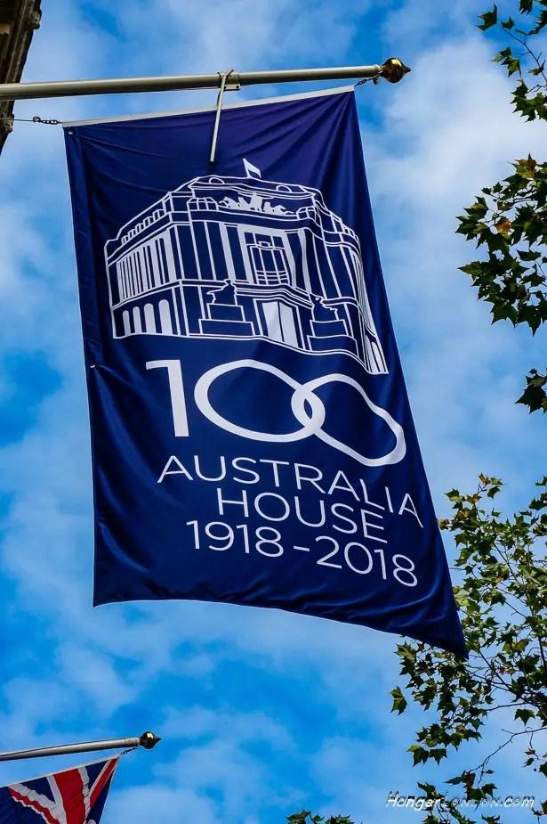100 years flag Australia House London 1918-2018