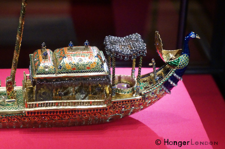 Peacock Barge Inkstand from 1876 presented to the British prince by the Marharaja Benares. Made from Gold, pearls,enamel, silk, silver guilt thread, glass beads ,diamonds, sapphires