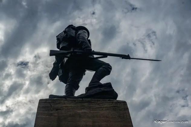 Royal Fusiliers War Memorial WW1 Design Albert Toft in Bronze erected 1922. At Holborn Bar