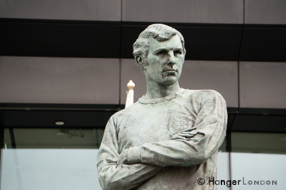 Bobby Moore Statue Outside Wembley Stadium byRoyal Sculptor Philip Jackson it stands 6.1meters high / 20 Feet in Bronze 2007
