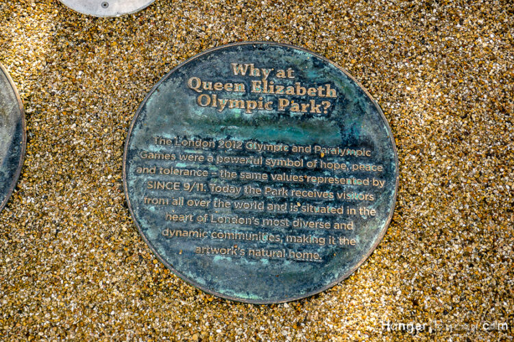 9/11 artwork memorial Stratford Olympic park floor disc info location