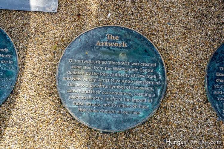 9/11 artwork memorial Stratford Olympic park floor disc info Artwork
