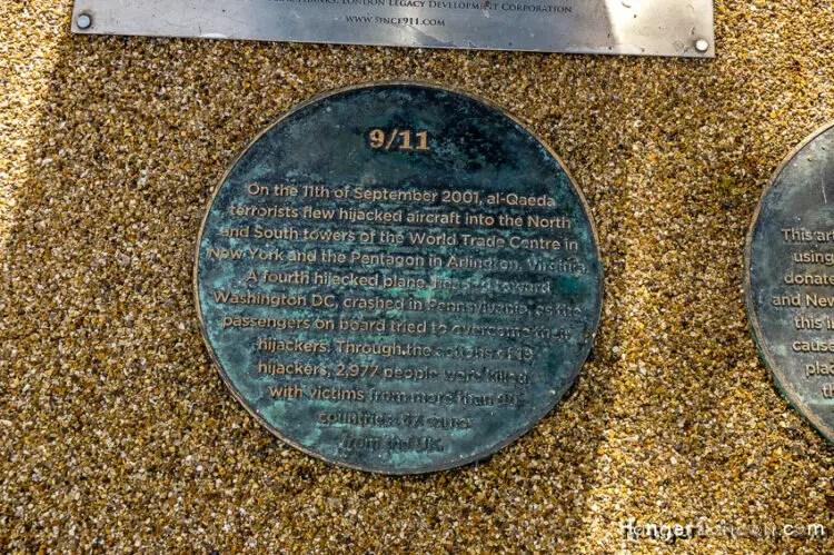 9/11 artwork memorial Stratford Olympic park floor disc info 1