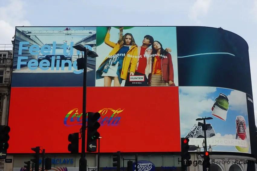 Coca Cola Pride colours Piccadilly Circus