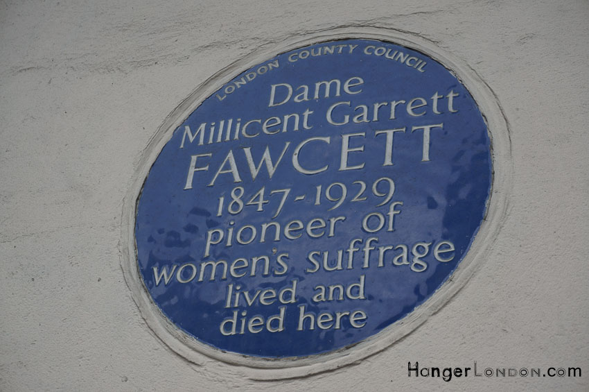 Millicent Fawcett lived here blue plaque