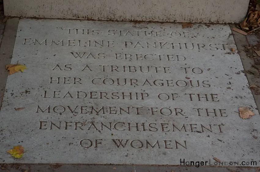 Emmeline Pankhurst statue stone base text Tower Victoria Gardens