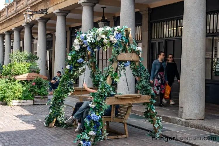 Flower Garland decorated benches around Covent Garden Market