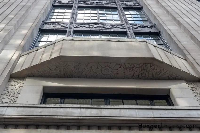 Decorative underside to window bays 99 Kensington High St