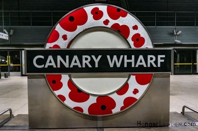 Canary Wharf Poppy Roundel TFL sign