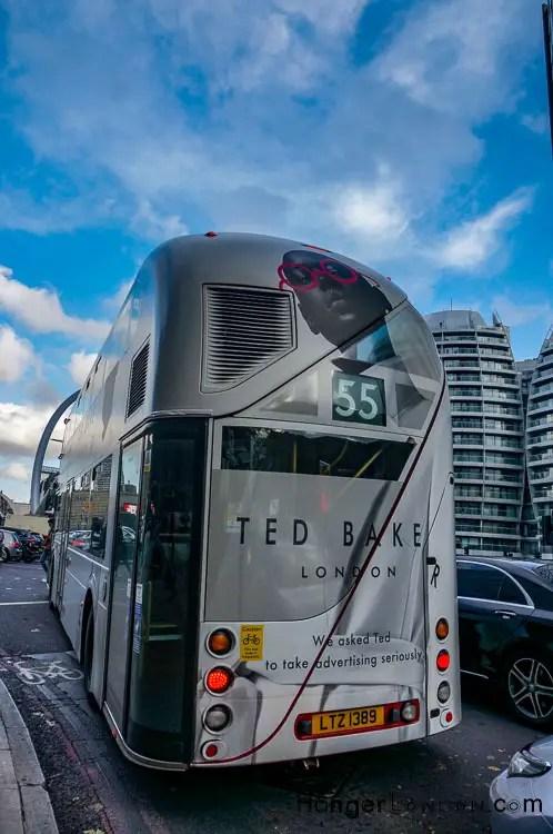 Back of a Ted Baker design 55 Bus