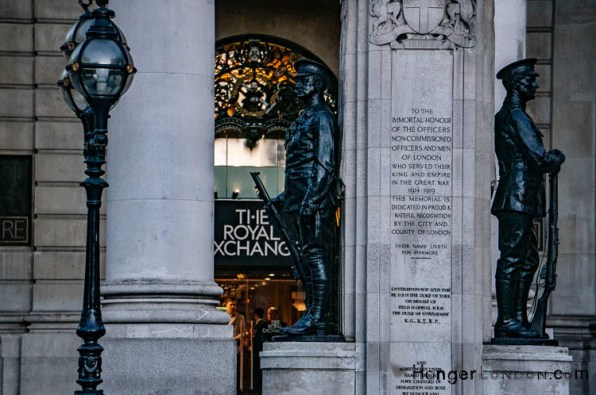 Royal Exchange front soldiers stand guard