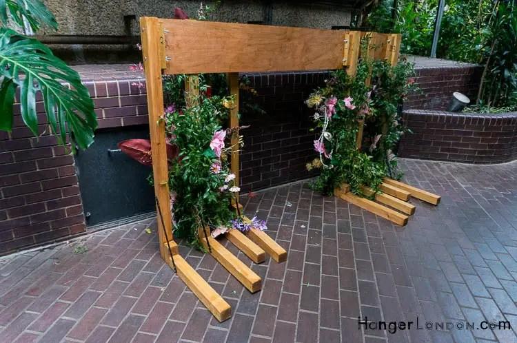 floral arrangements on wood