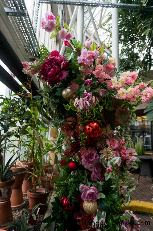 pink and red hanging floral arrangement