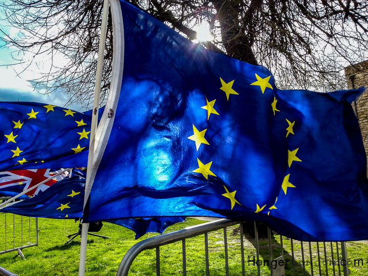 Brexit flags College Green London