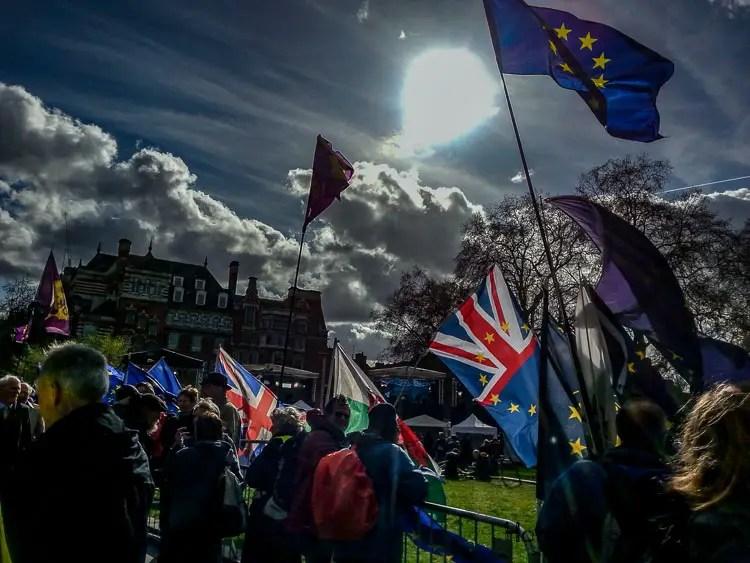 March skies Brexit activists