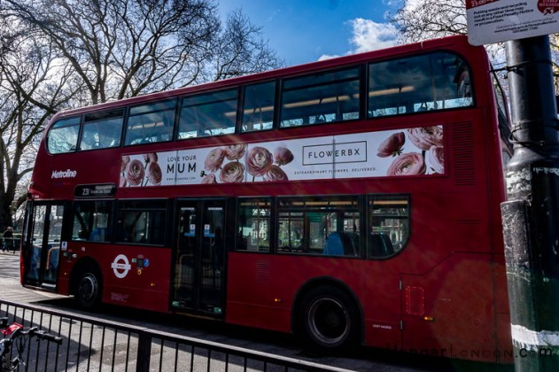 Mothers day advertised on a London Transport Bus