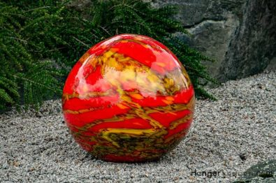 red and tan marble effect glass sphere niijima floats chihuly