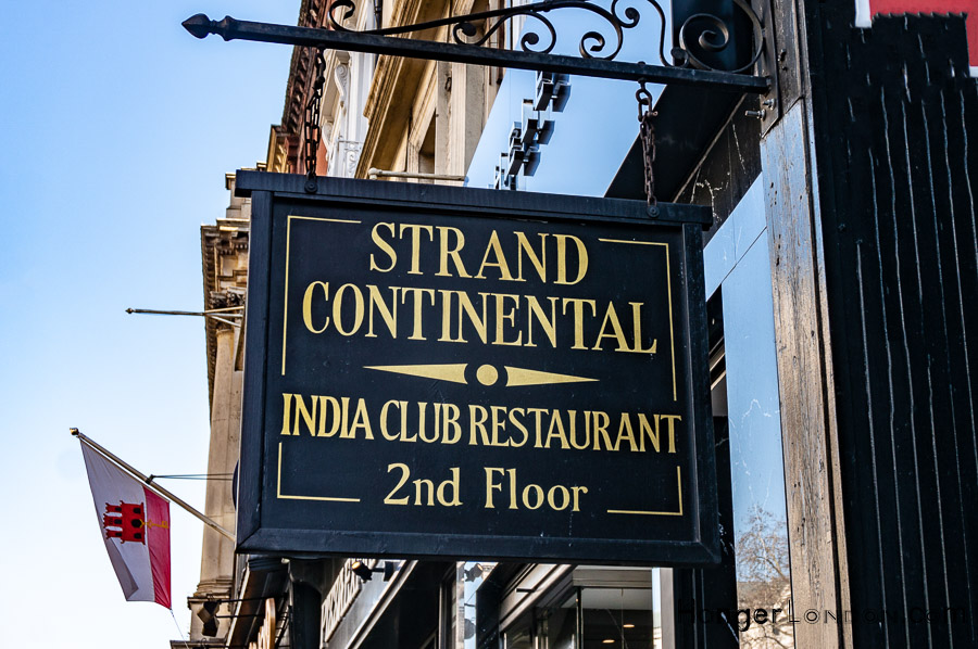 Outside Sign on the Strand for the India Club Restaurant