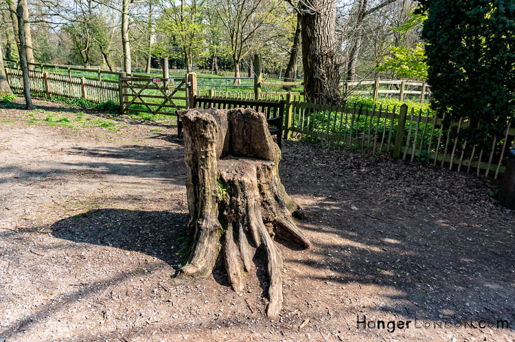 Tree trunk seat Holland park