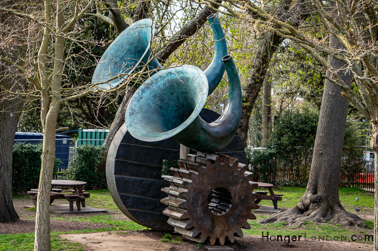 Sculpture by Andrew Burton 2000 Annunciation large horns on cogs