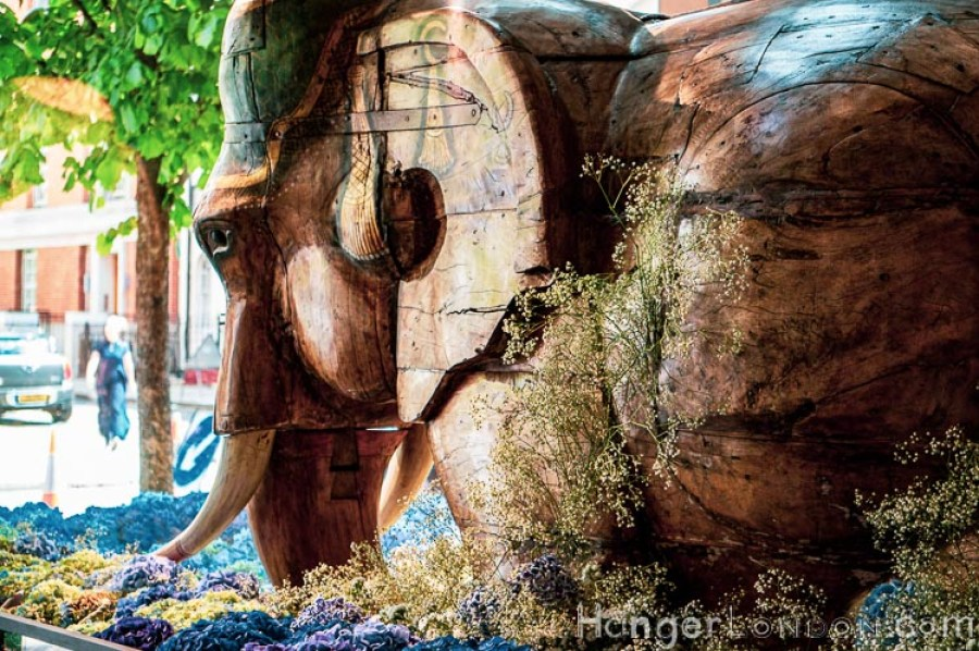 Chelsea in Bloom Marshall Wace 6 wooden elephant