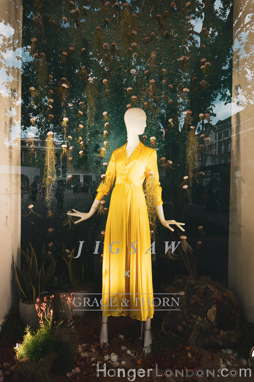 Yellow dress under the sea display Chelsea Jigsaw shop front