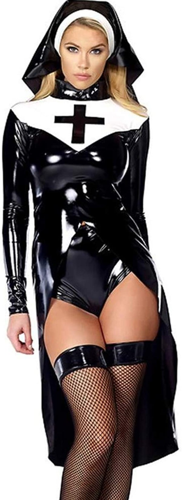 Xinbeauty Womens Saintlike Seductress Costume Sexy Nun Costume Faux Leather Vinyl Halloween Costume Wetlook Cosplay Costume Fancy Dress 1