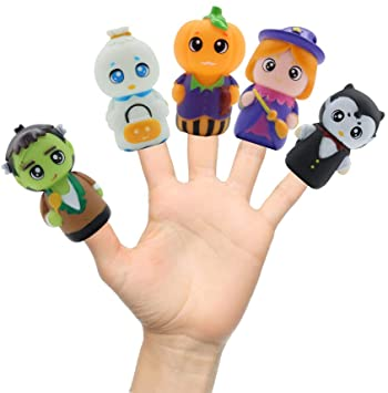 FunnyMe KAKALUOTE Finger Puppets for kids, Halloween Toys Colorful, Tiny Hands Toys Party Favors for Kids, Characters Finger Puppets Set for toddler, Easter Basket Stuffers Puppets for kids 5 PCS 1