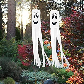 2pcs 40 Inch Halloween Ghost Windsock Flag Halloween Windsock Outdoor Hanging Decoration for Front Yard Patio Lawn Garden Party Decor 1