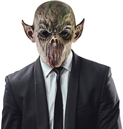 Creepy Scary Halloween Cosplay Costume Mask for Adults, Real Horrific Demon and Evil Dead Alien Bloody Cosplay Masquerade Party Decoration Props Gray 1