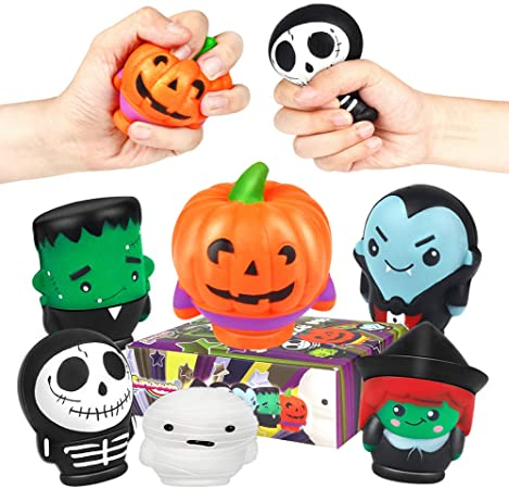 Sinoeem 6 Pcs Squeeze Toy Halloween Pumpkin Cream Relief Soft Cute Scented Slow Rising Stress Relief Kawaii Soft Squeeze Toys Gift for Kids Adults 1