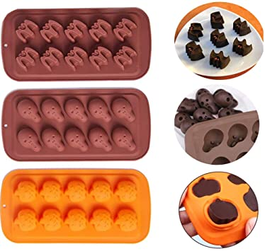Skull Bat Pumpkin Chocolate Mould Silicone Fondant Moulds Halloween Ice Cube Tray Candy Cookies Soap Dessert Baking Mold for Cake Decorating Cupcake Decor Sugarcraft DIY Pack of 3 1
