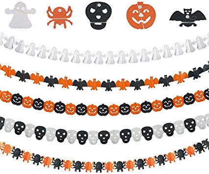 SouFace 5 pcs Halloween Decoration Banners Halloween Party Decorations Halloween Spider, Halloween Pumpkin, Bat, Ghost, Skeleton Banner for Celebrate Party Horror Themed Wall Photo Props 1