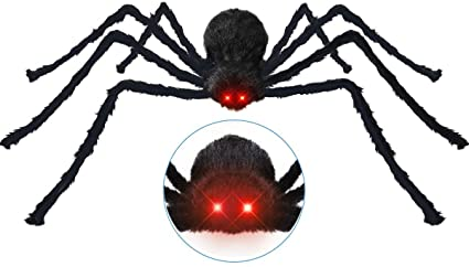 Giant Spider 49 Inch 125 cm Halloween Spider Decoration with Light-Up Eyes, Scary Sounds & Shaking Body + 20 Plastic Spiders + 200sqft Cobweb Halloween Party Decor Outdoors Garden Patio Props 1