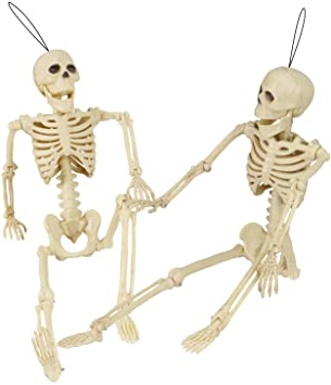 2 Packs Halloween Skeleton Full Body Halloween Skull Decoration with Movable Joints Party Prop Graveyard Bones Plastic Posable Human Model Collectibles Home Accessories Gifts Realistic Life Size 1