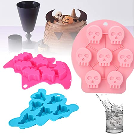 Halloween Chocolate Moulds Skull Bat Ghost Ice Cube Tray Silicone Fondant Molds Cake Cupcake Decorating Cookies Candy Baking Mold for Sugarcraft DIY Pack of 3 1