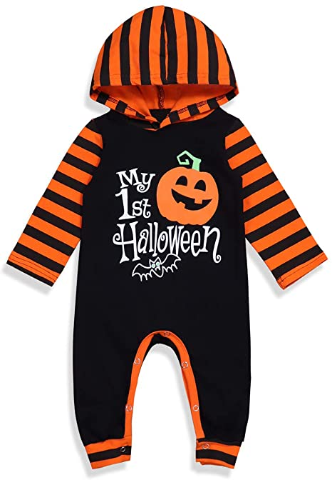 Halloween Baby Boy Girl Outfit My First Halloween Pumpkin Hoodie Romper Bodysuit One-Piece Jumpsuit 1