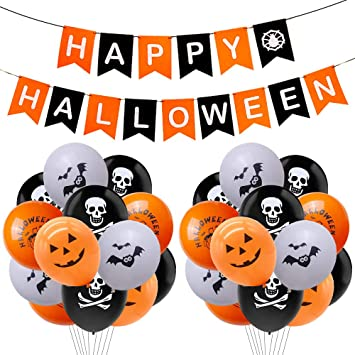 Rorchio Halloween Party Decorations, Felt Happy Halloween Banner Hanging Bunting and 20pcs Halloween Balloons for Halloween Party Supplies 1