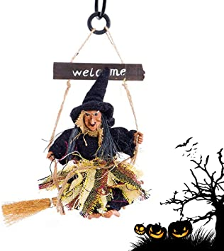 SACALA Halloween Hanging Witch Decoration, Scary Ghost Decoration Craft Ornaments Welcome Banner for Shop Bar House Party Nightclub Door Wall Decor 1